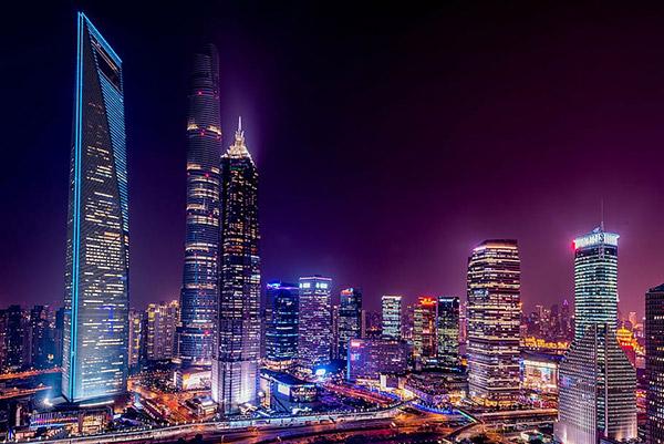 上海浦东建筑夜景