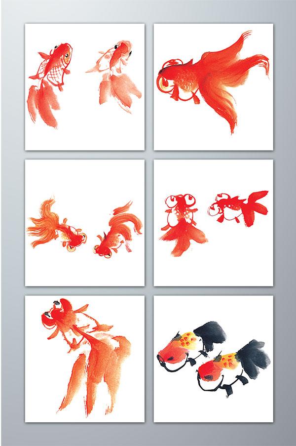 水墨,鱼,水彩,鲤鱼,荷花,游弋,传统文化,毛笔画,国画,大鱼,小鱼,黑色