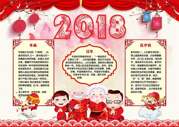 春节小报,新年小报,2018,新年,新春,春节,小报,新春文化,春节文化图片