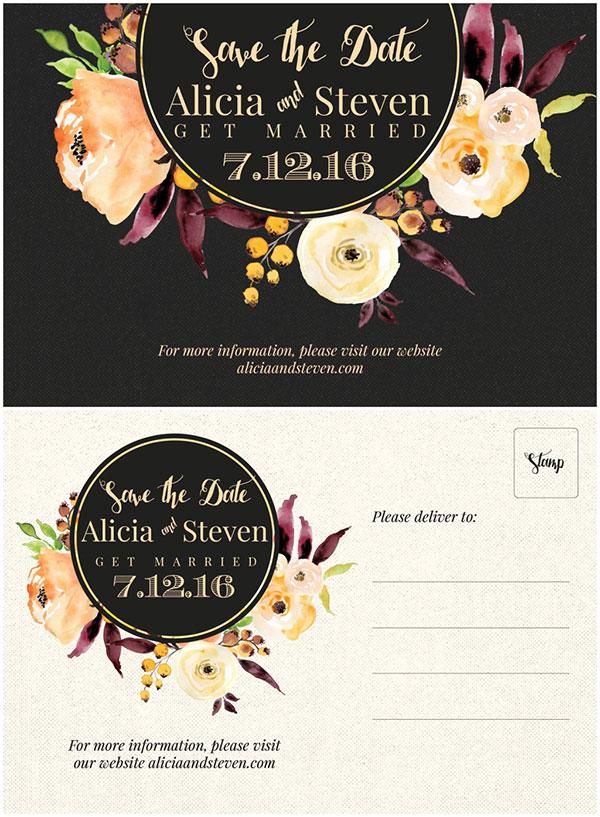 花朵结婚邀请函