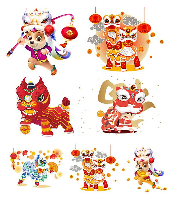 2018,新年,春节,卡通狗,狗狗,png素材,元素,新年素材,灯笼,狗年元素