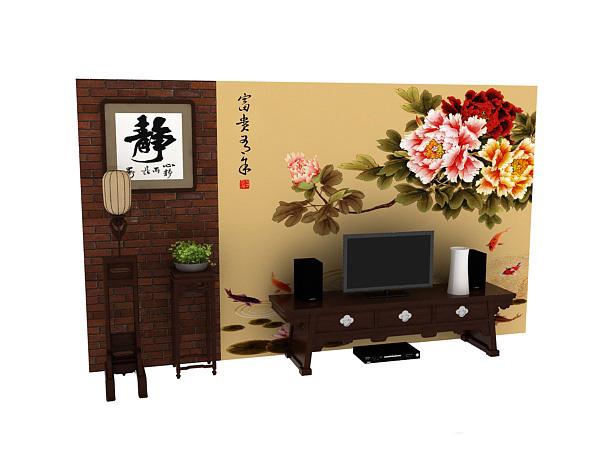 中式电视墙模型