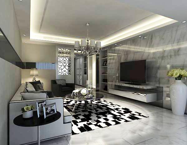 白色客厅3d模型
