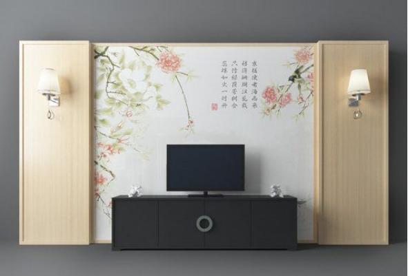 新中式电视墙模型