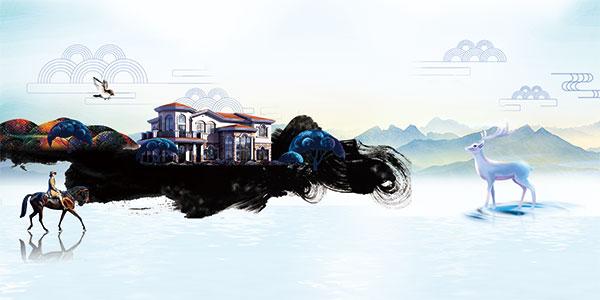 房地产水墨背景