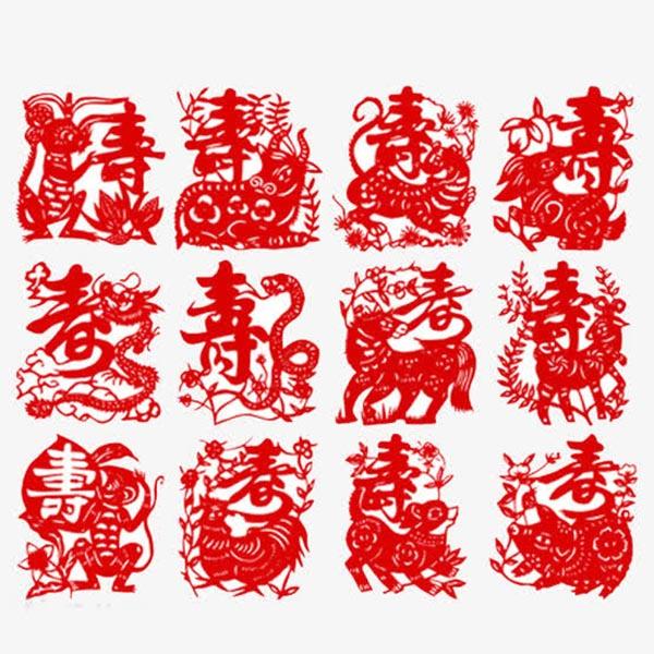 点 关键词: 中国生肖寿字剪纸艺术,剪纸,艺术,十二生肖,春天,猴子,蛇