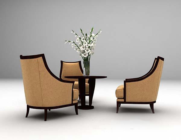 木质桌椅组合模型