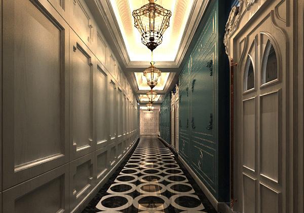 欧式酒店走廊模型