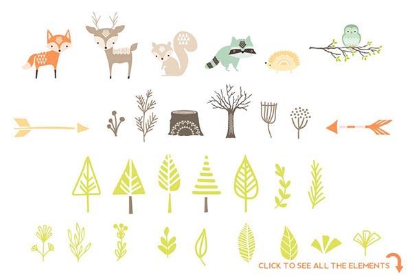 素材分类: 插画cg所需点数: 0 点 关键词: 可爱森林动物baby图形,动物
