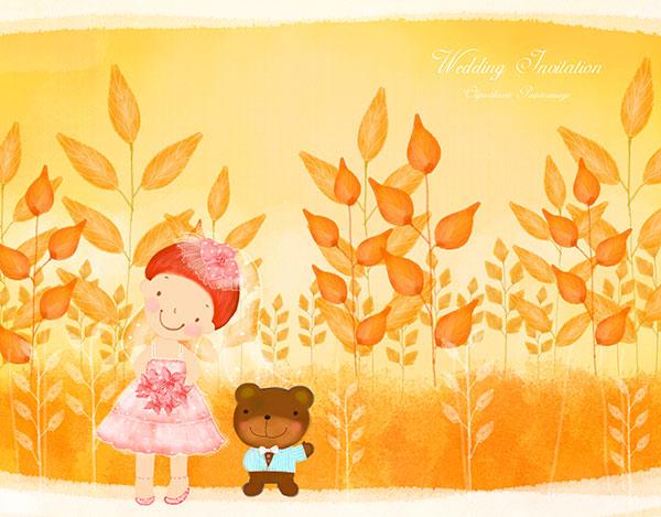 小熊小女孩插画