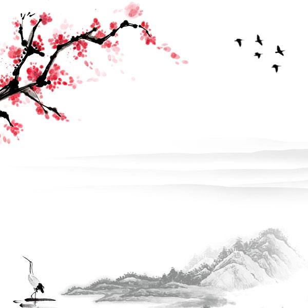 0 点 关键词: 梅花毛笔绘画psd素材,梅花,小鸟,山峰,水墨,绘画,背景