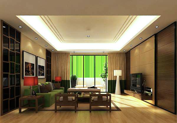 现代中式客厅模型