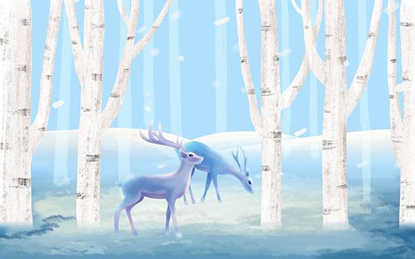 手绘麋鹿森林背景