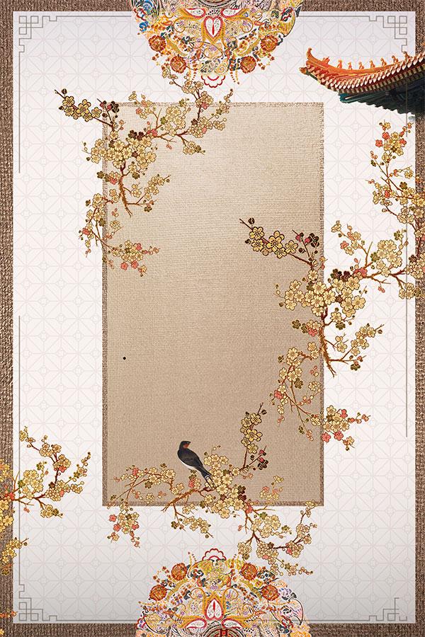 金色花枝小鸟刺绣