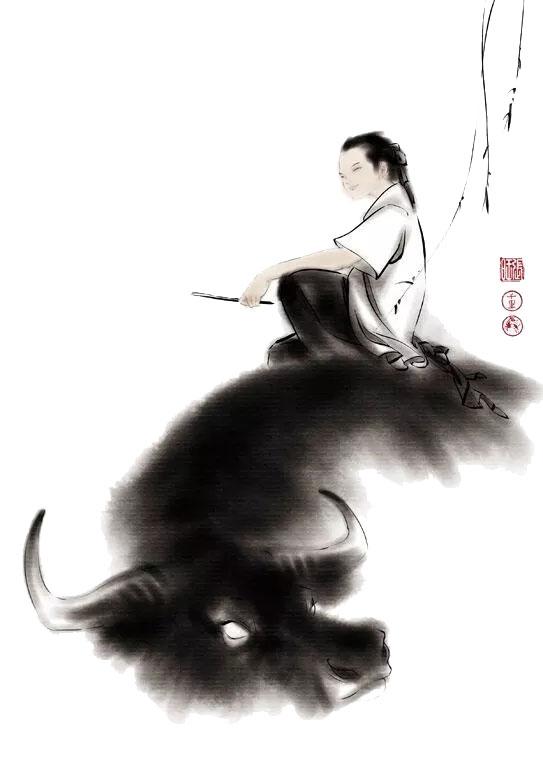 水墨牧童骑黄牛|牧