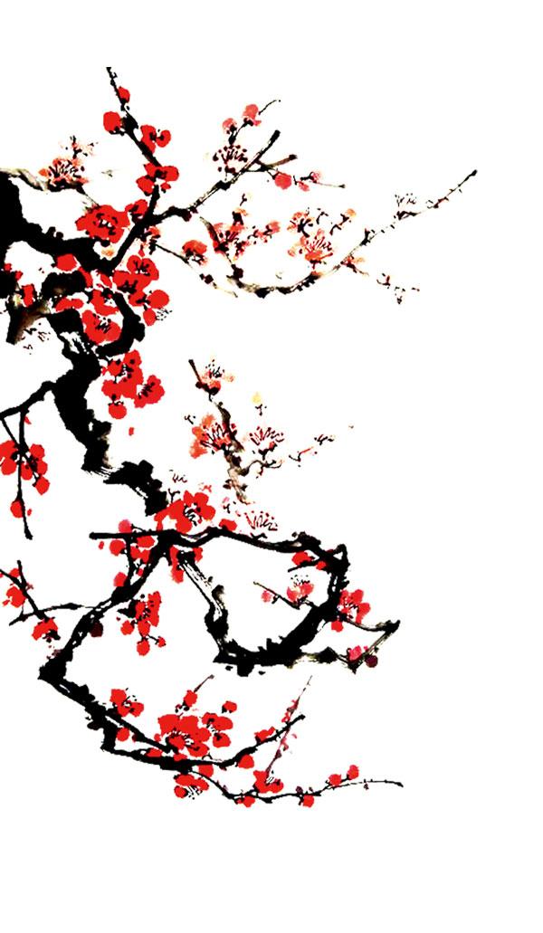 绘画艺术所需点数: 0 点 关键词: 红色中国风国画手绘梅花,梅花,古风