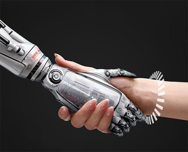 握手的机械手臂