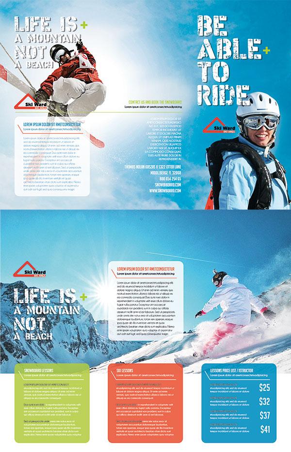 滑雪运动三折页