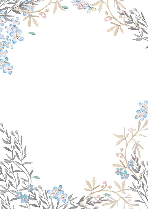手绘花草背景