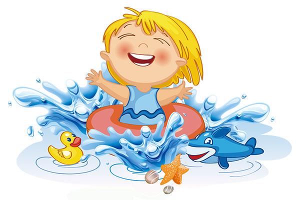 卡通游泳小孩