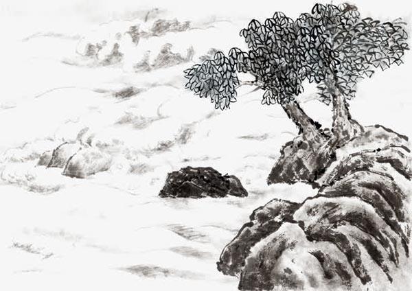 古风水墨松树