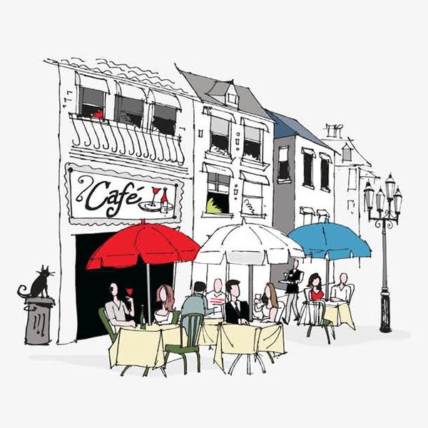 手绘街角咖啡厅插画