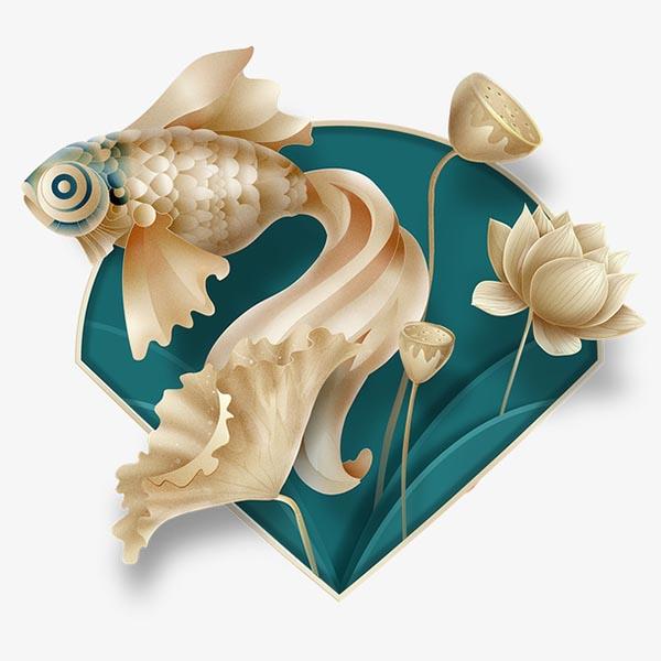 金鱼荷花元素
