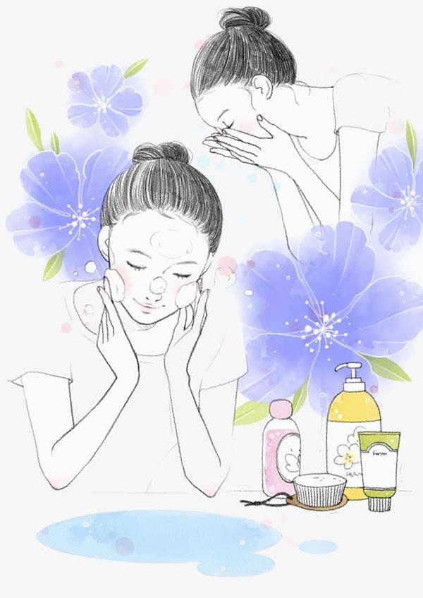 正在洗脸的女孩
