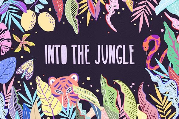 夏季热带植物插图