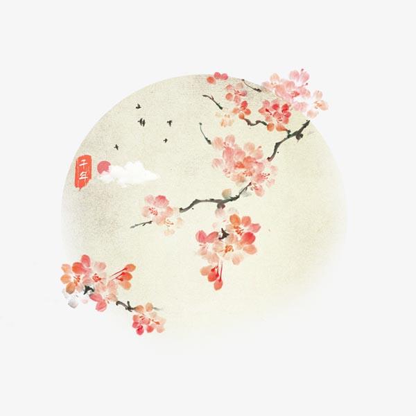 手绘水墨桃花