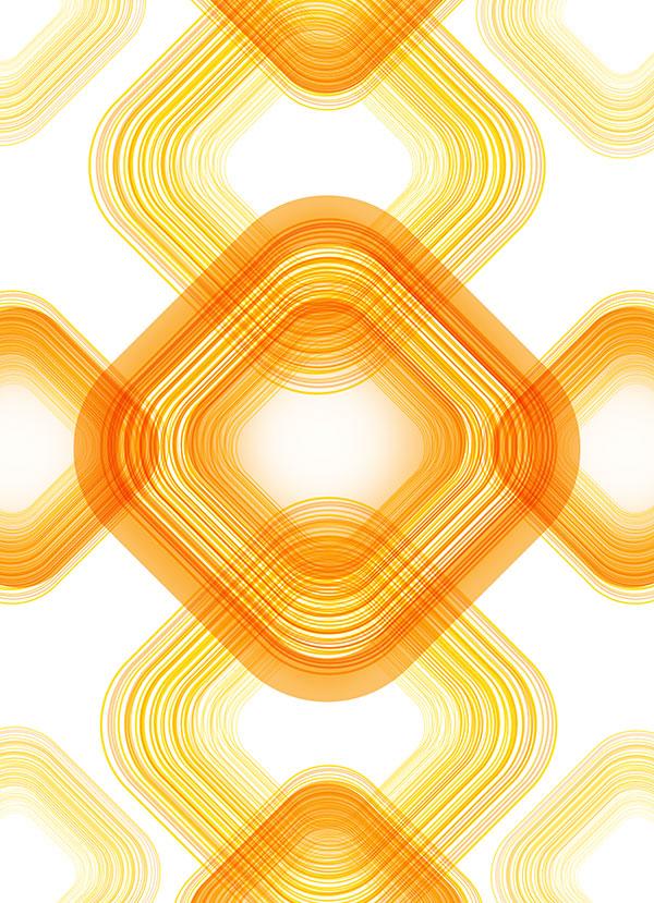 橙色线条方形元素