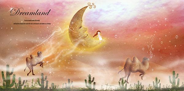 月亮上的小女孩插画
