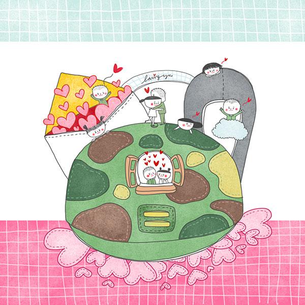 甜蜜的情侣插画