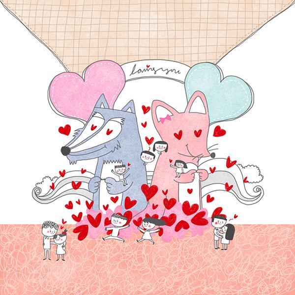 桃心狐狸与情侣