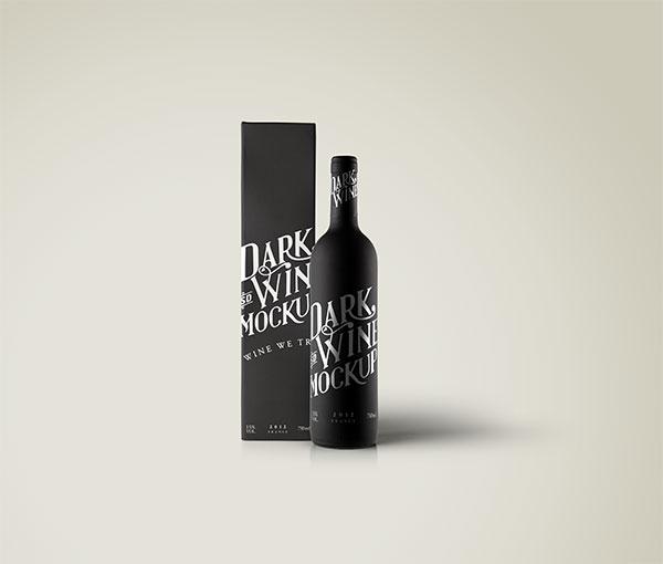 葡萄酒黑瓶子样机