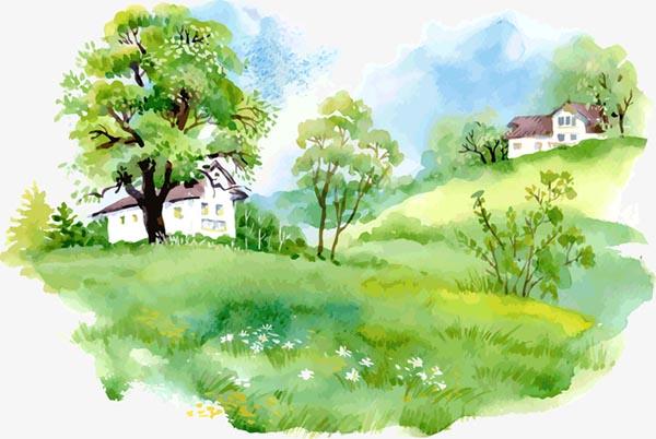 手绘春季风景