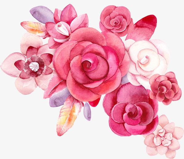 手绘彩色唯美花朵