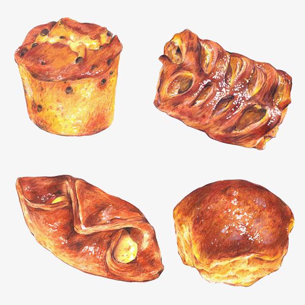 水彩早餐面包