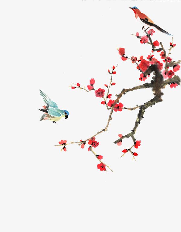 写意红梅枝头鸟