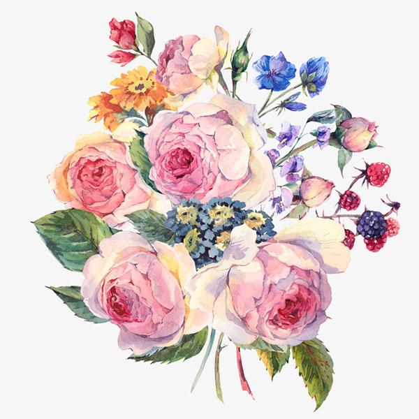 一束水彩玫瑰