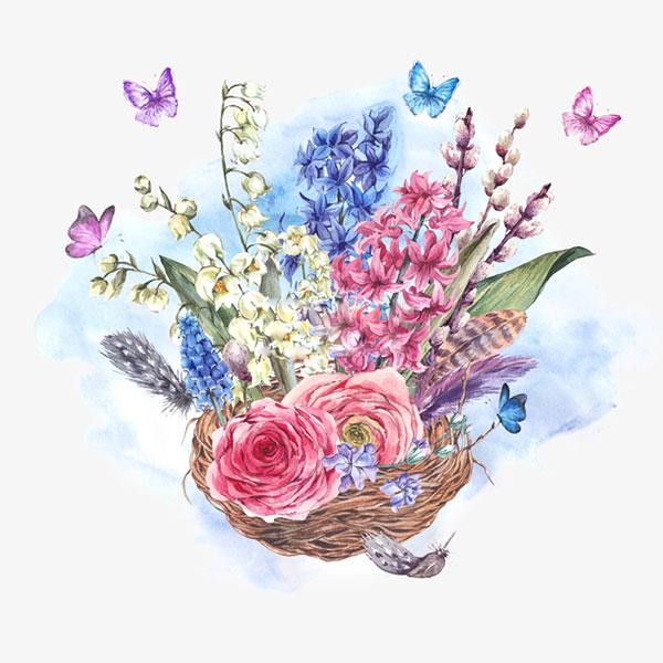 鸟巢与花与蝶
