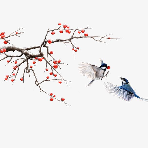 树枝小鸟插图