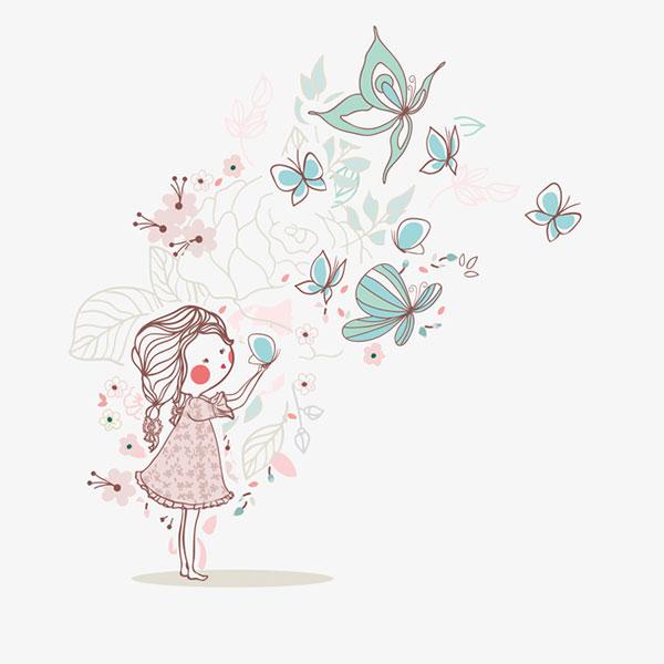 卡通女孩和蝴蝶
