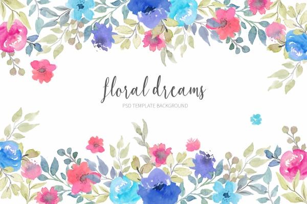 水彩花卉边框背景