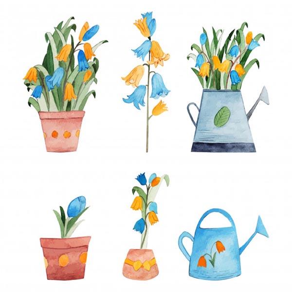 水彩春季花卉插画
