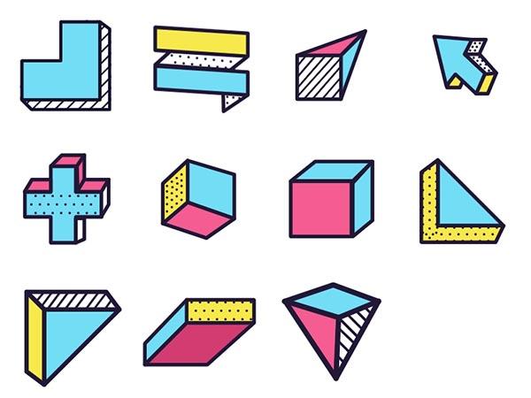 彩色几何图形图标