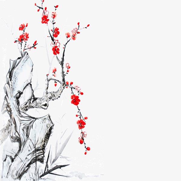 国潮手绘石中梅花