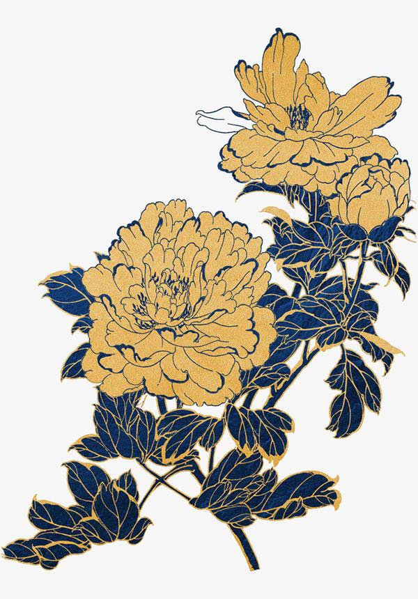 金色描边蓝色花朵