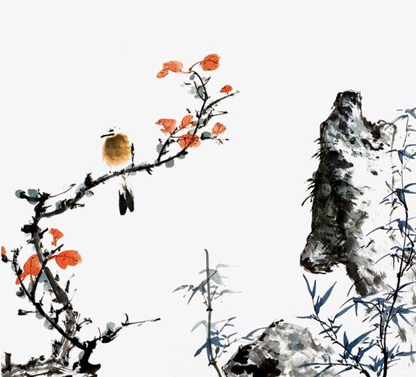 水墨装饰梅花元素