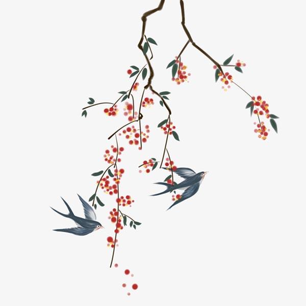 手绘国风树枝燕子